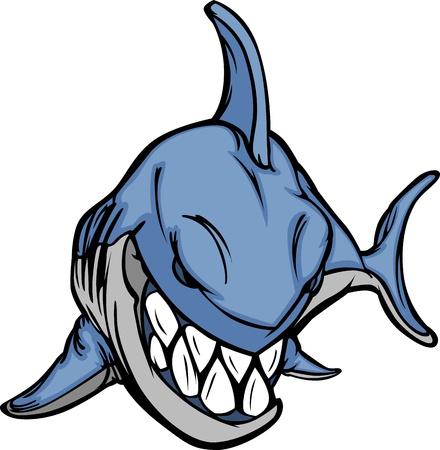 aletas: Imagen de caricatura tibur�n mascota Vectores