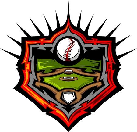 baseball field: Baseball Field with Baseball Vector Image Template Illustration