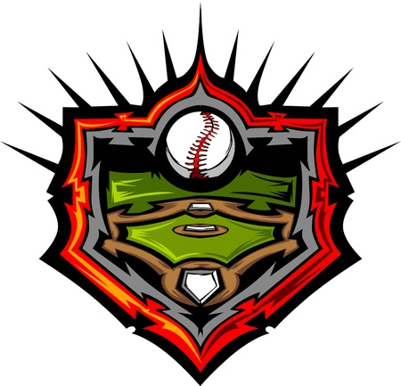 campo de beisbol: Campo de béisbol con plantilla de imagen vectorial de béisbol