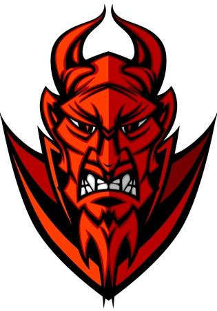 Demon Devil Mascot Head Vector Illustration Vector