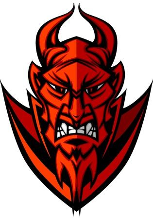 demonio: Ilustración vectorial de cabeza de Diablo mascota de demonio Vectores