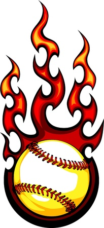 blazing: Baseball with Flames Vector Image Illustration