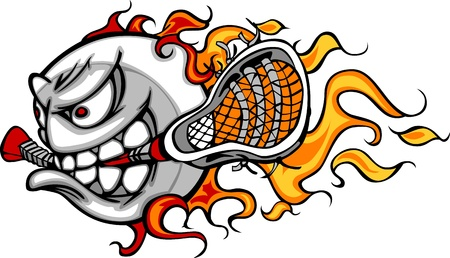 lax: Lacrosse Ball Flaming Face Vector Image