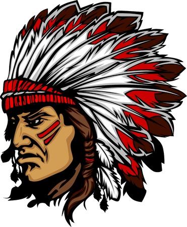 indian chief headdress: Capo indiano mascotte testa grafica vettoriale Vettoriali