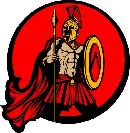 spartano: Greco spartano Troia Vector mascotte con lancia e scudo