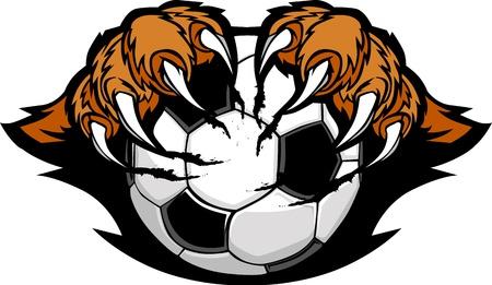 garra: Balón de fútbol con imagen vectorial de garras de Tigre