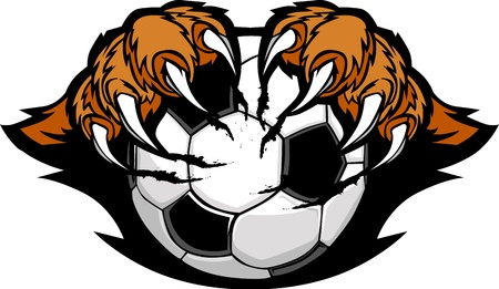 clawing: Soccer Ball With Tiger Claws Vector Image Illustration