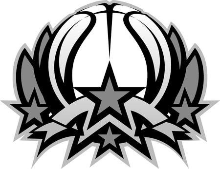 baloncesto: Gr�fico plantilla de pelota de baloncesto con estrellas Vectores