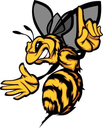 mascot: Hornet Bee Wasp Cartoon Image