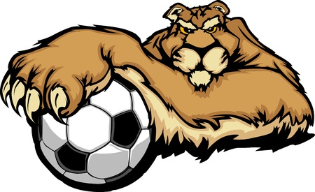 lounging: Cougar Mascot with Soccer Ball Illustration