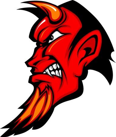 demonio: Perfil de la mascota de Diablo con cuernos Vectores