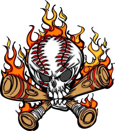 calavera caricatura: Cr�neo de b�isbol softbol y murci�lagos Flaming imagen de caricatura Vectores
