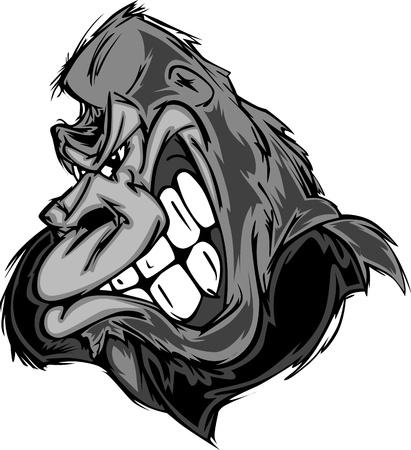 mono caricatura: Gorila o mono mascota Cartoon Vectores