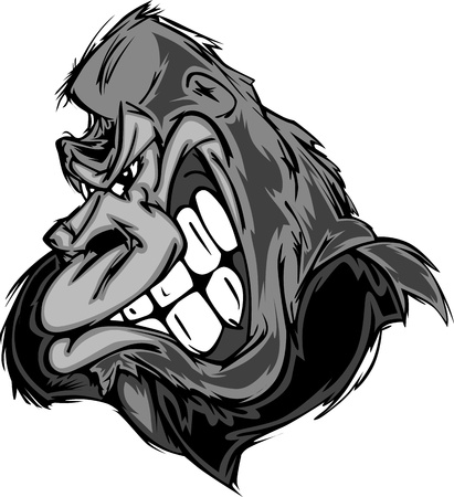 mean: Gorilla or Ape Mascot Cartoon Illustration