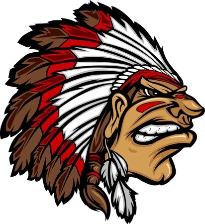 Indian Chief Mascot Head Cartoon Grafische Vector Illustratie