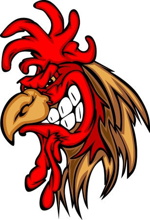 mean: Rooster or Gamecock Mascot Cartoon Illustration