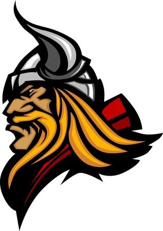 vikings: Profil de la mascotte de Viking avec casque � cornes