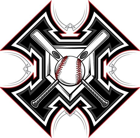 murcielago: Beisbol softbol murciélagos gráfico plantilla