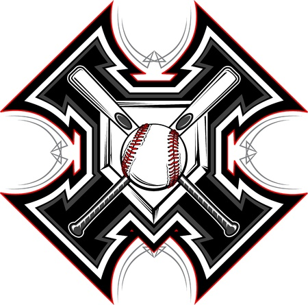 beisbol: Beisbol softbol murciélagos gráfico plantilla