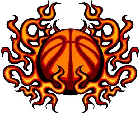 balon baloncesto: Baloncesto Plantilla con la imagen Llamas