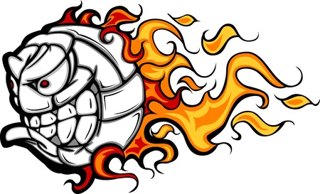 mean: Volleyball Ball Flaming Face Image Illustration