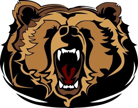 집게발: 회색 곰 마스코트 머리 그래픽 일러스트
