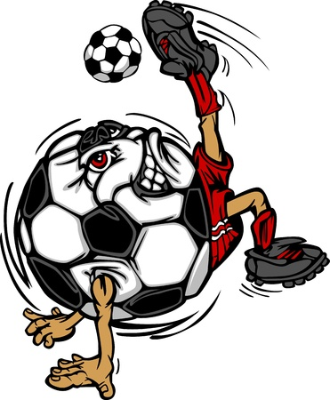 soccer kick: Soccer Football Ball Player Cartoon