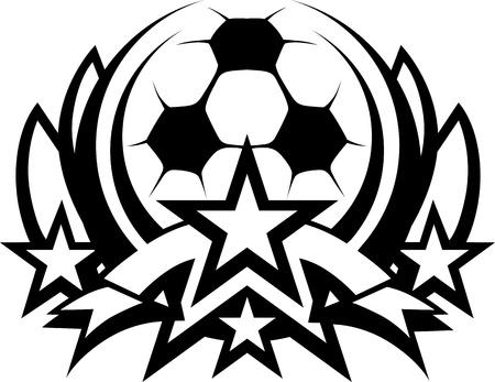 balon soccer: Gráfico plantilla de bola de fútbol con estrellas