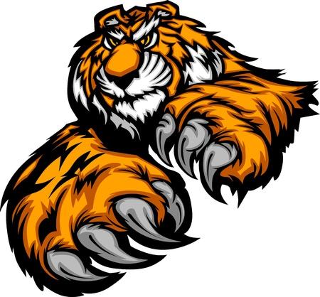 tigre caricatura: Tigre mascota cuerpo con patas y garras Vectores