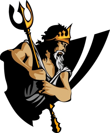 Titan Mascot with Trident and Crown Graphic Illustration Vettoriali
