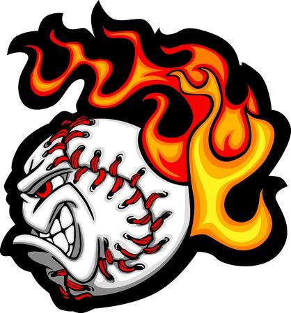 softball: Softball or Baseball Face Flaming Vector Cartoon Illustration