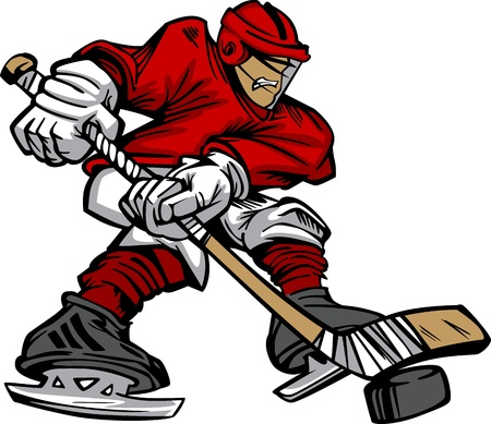 hockey stick: Cartoon Hockey Player Skating Vector