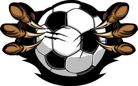 futbol: Pallone da calcio con artigli Eagle Vector Image