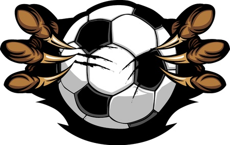 clawing: Soccer Ball With Eagle Talons Vector Image