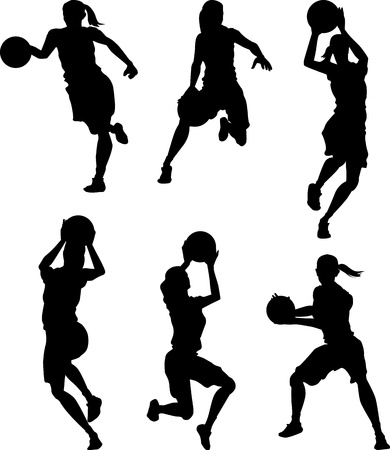 dribbling: Basketball Female Women Silhouettes Illustration