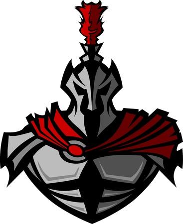 guerrero: Guerrero medieval con casco Vector mascota Vectores