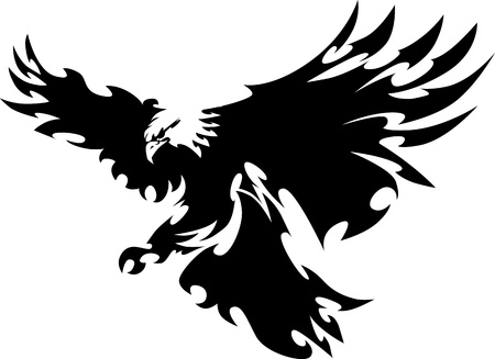 Eagle Mascot Flying Wings Ontwerp Stock Illustratie