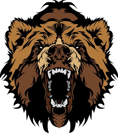 cartoon bear: Grizzly Bear Mascot Head Vector Graphic