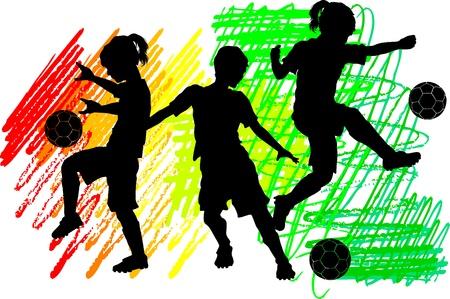balon soccer: Siluetas de fútbol infantil de niños y niñas Vectores