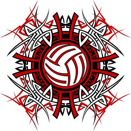 pelota de voleibol: Imagen gráfica tribales de voleibol