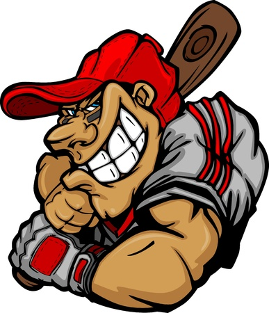 Cartoon Baseball Player Batting Ontwerp