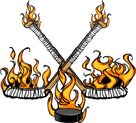deportes caricatura: Palos de hockey y Puck Flaming Cartoon ilustración Vectores