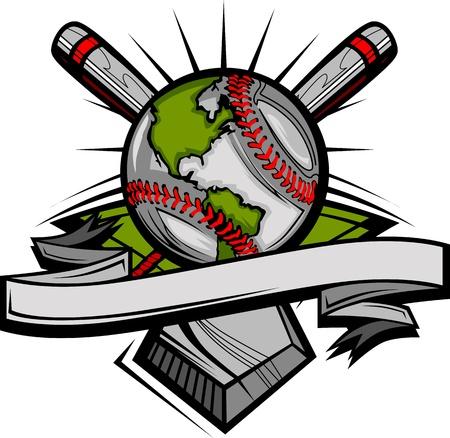 softball: Global Baseball Image Template Illustration