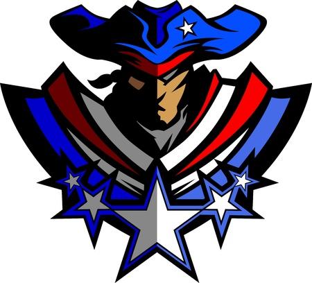 Patriot Mascot mit Stars and Hat Graphic Illustration