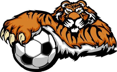 Tiger Mascot with Soccer Ball Illustration Vettoriali