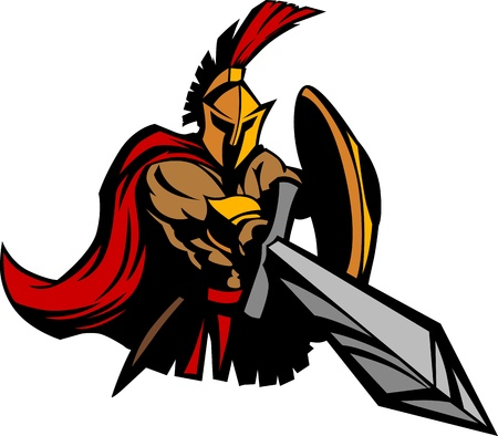 Spartan Trojan Mascot with Sword and Shield Vector