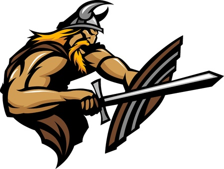 Viking Norseman Mascot Stabbing with Sword and Shield Image Vettoriali