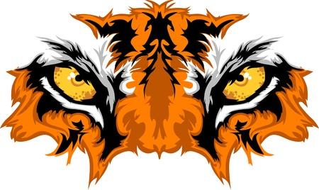 Tigre mascota de ojos gráfico Ilustración de vector