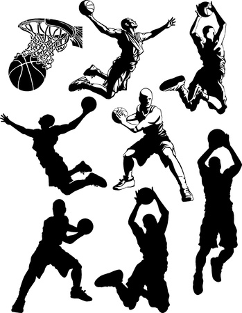 hombre disparando: Baloncesto siluetas de hombres