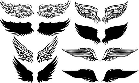 silhouette aquila: Ali set Vector Graphic Vettoriali